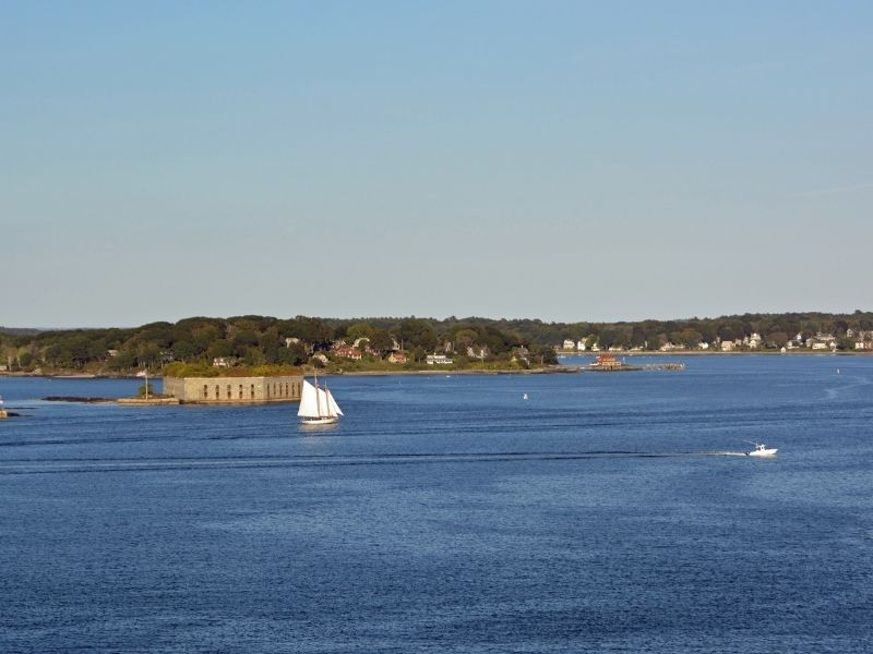 Cruising out on the water in Portland Maine in Casco Bay on a sunny summer day