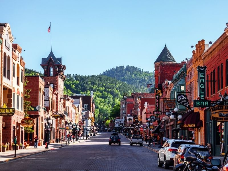 The historic downtown of Deadwood South Dakota with bars and restuarants