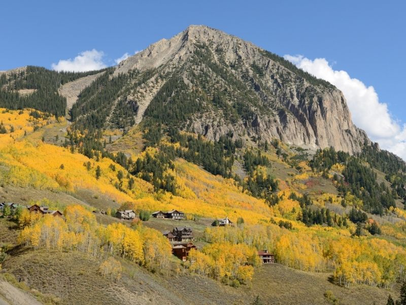 yellow aspens among small cute wood cabins in crested butte colorado in fall colors