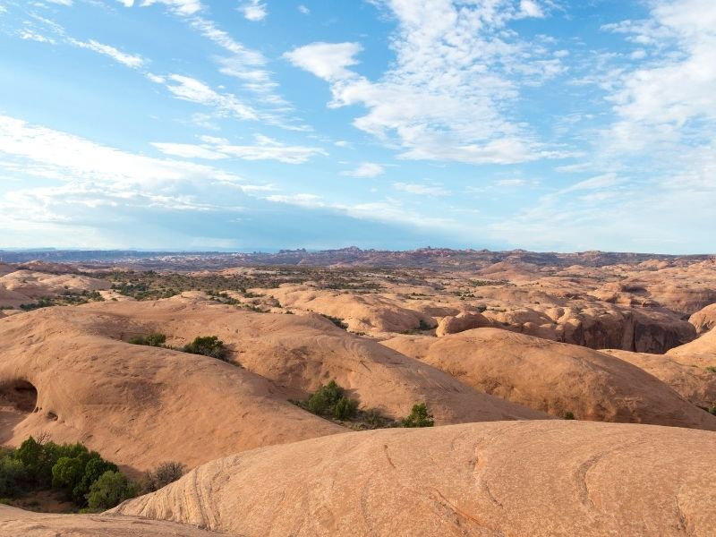 The rocky formations of Hells Revenge in Moab, a perfect place for an ATV ride