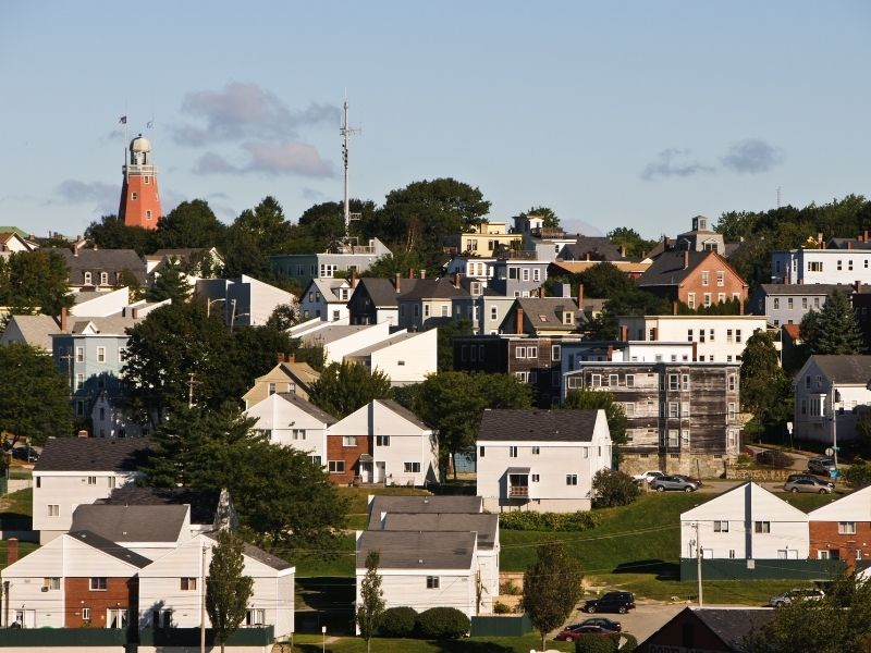 the charming munjoy hill neighborhood of portland with a red obseravatory tower on the highest point