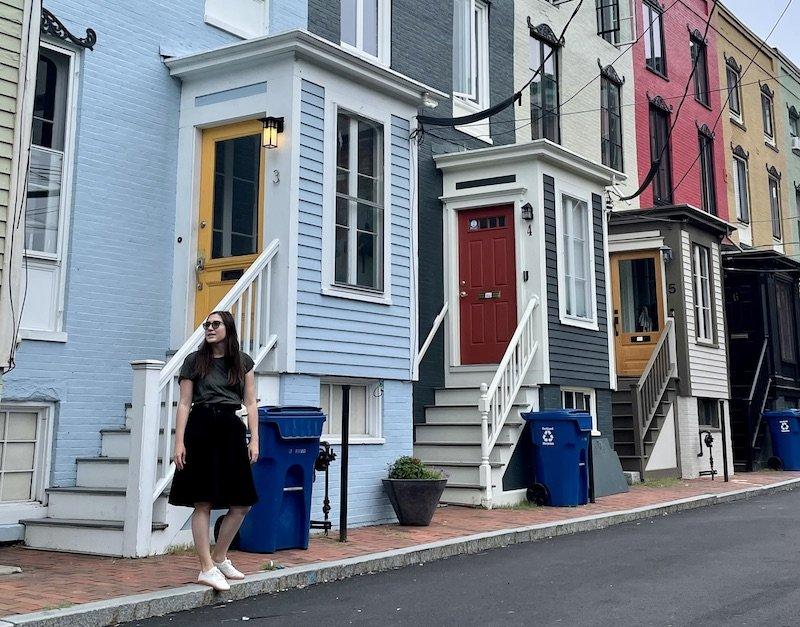 Rainbow houses in Portland Maine near Victoria Mansion