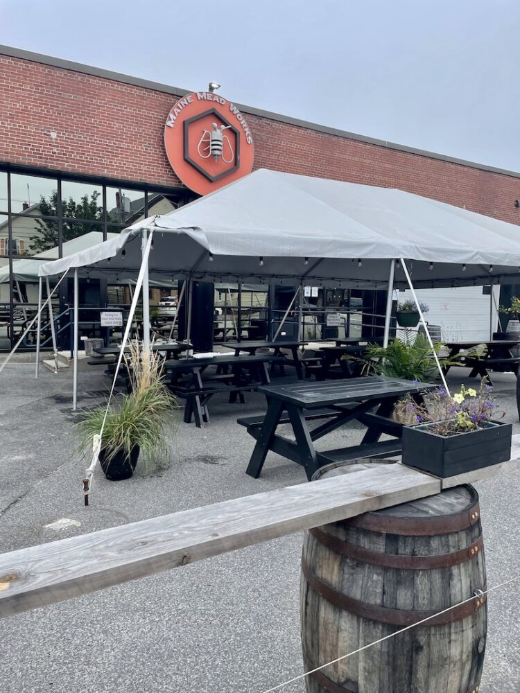 a mead brewery with benches outside