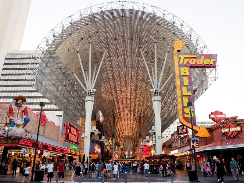 the busy downtown of las vegas, fremont street off the strip