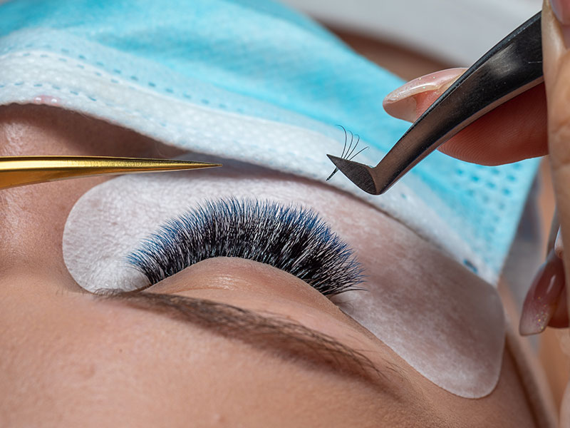 Volume Lashes Being Applied