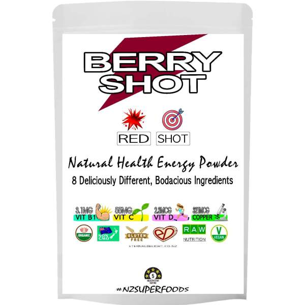 BERRY SHOT. ORGANIC POWDER. ETERNALDELIGHT.CO.NZ