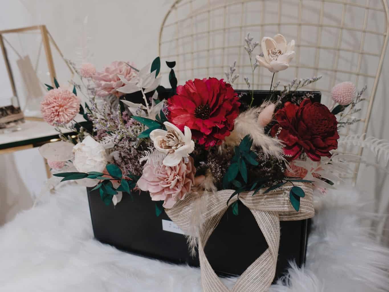 【韓式花藝課程】唯美半開式花盒 - HUE 詼 乾燥花藝設計 - 新娘捧花 / 婚禮佈置 / 乾燥花束 / 客製花禮