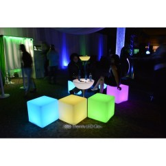 White Chair Rentals Lumbar Pillow For Led Cube Seat - Light Up Glow | Eternity