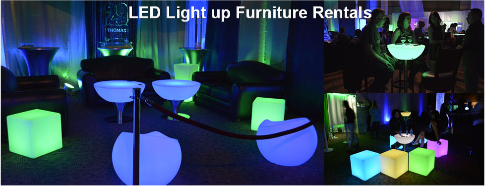 led table and chairs kohls massage chair furniture rentals light up glow eternity artical rental banner
