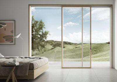 Eterno aluminium timber composite windows ultra thin frame sliding door