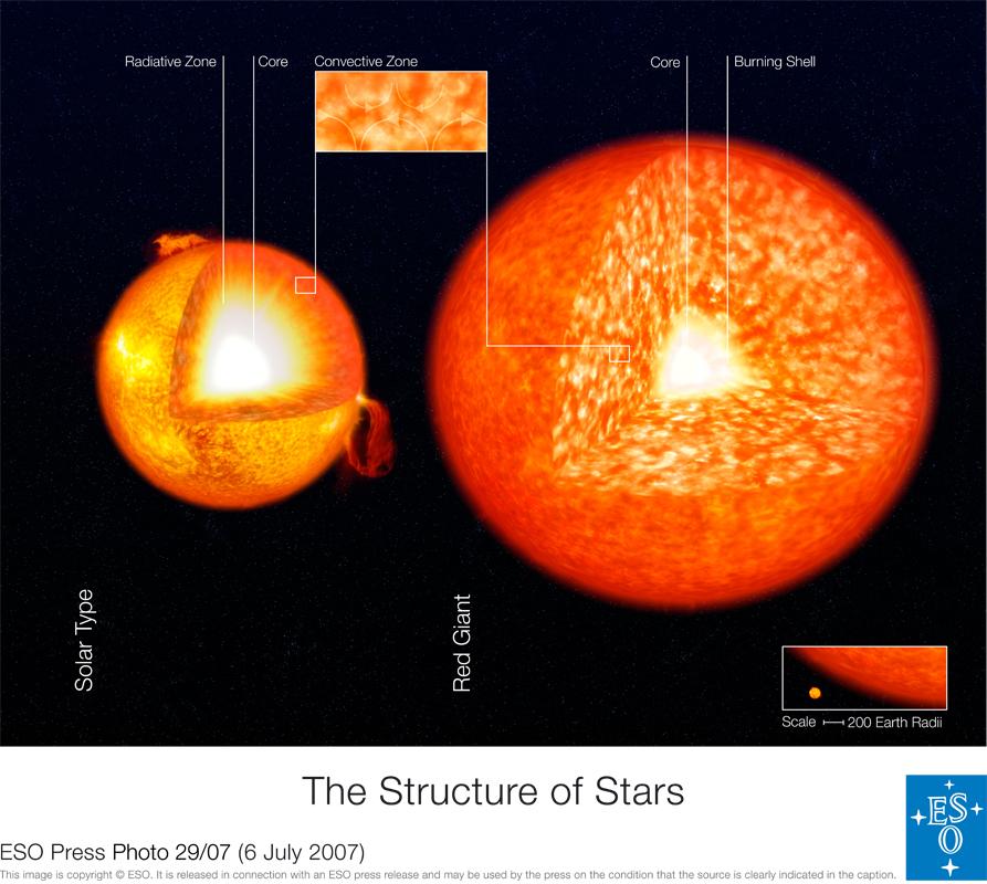 Nesta impressão artística vemos a comparação entre a estrutura do Sol agora e quando tornar-se uma estrela gigante vermelha. Atenção: as duas imagens não estão em escala – a comparação de tamanho está embaixo e à direita do quadro. O interior do Sol e o das estrelas da de sua massa são em geral divididos em 3 zonas distintas. A zona externa é chamada 'zona convectiva'. Esta zona se estende desde a fotosfera até cerca de 15% do raio solar. Na 'zona convectiva' a energia é transportada principalmente para fora por fluxos de plasma em convecção. A Zona radiativa fica abaixo da zona de convecção e se estende até o núcleo solar. Na zona radiativa a energia é transferida para fora por radiação (e não por convecção). A densidade da matéria entre o topo e a base desta zona aumenta 100 vezes. O núcleo solar ocupa a região central e seu diâmetro é cerca de 15% do diâmetro estelar. Aqui a energia é produzida pelo processo de nucleossíntese onde o hidrogênio se funde gerando o hélio. No Sol a temperatura do núcleo chega a 14 milhões de graus. Na gigante vermelha à direita o núcleo faz a nucleossíntese do hélio, pois o hidrogênio se esgotou, produzindo muito mais energia que o Sol. A zona de convecção da gigante vermelha é muito maior, abrangendo 35 vezes mais massa que a mesma região no Sol atual. Crédito: ESO - European Southern Observatory