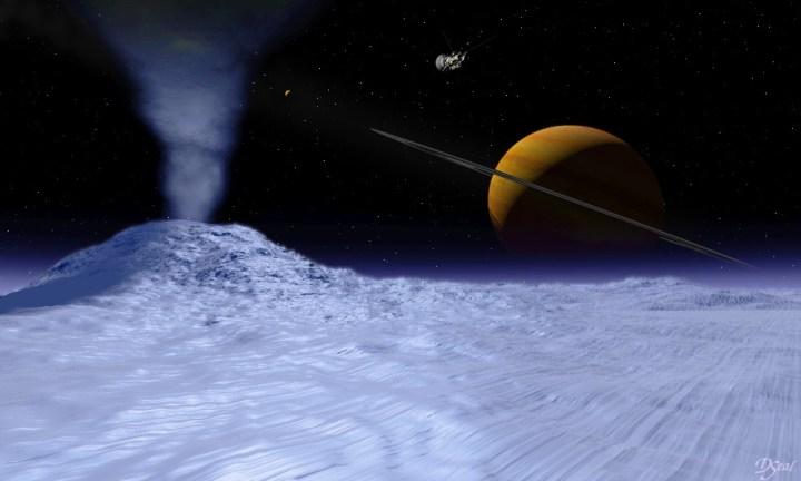Concepção artística mostra um criovulcão em atividade em Encedalus com Saturno ao fundo