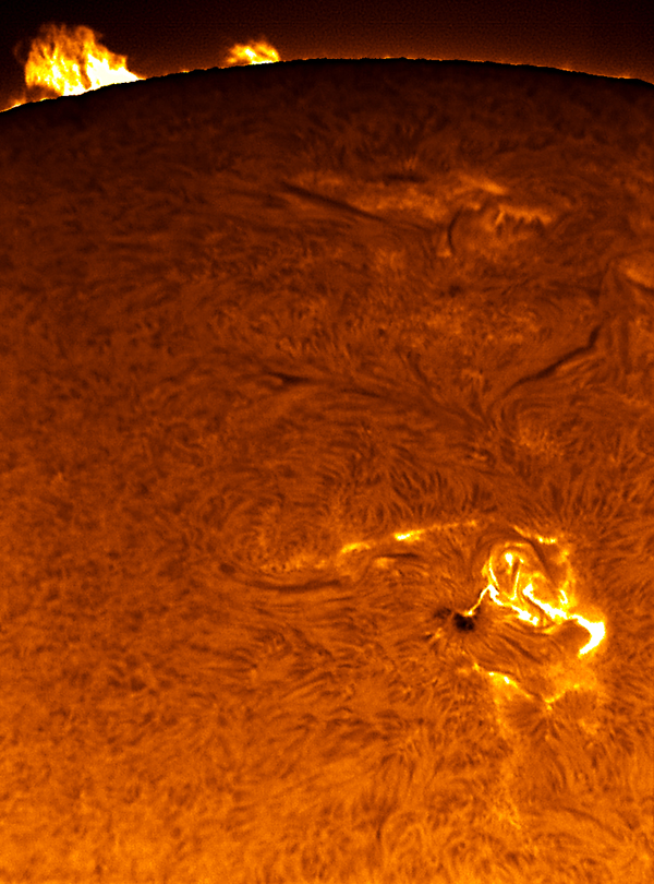 Tempestade Solar classe C provocada pela mancha solar 875 em abril de 2006 - Crédito & Copyright: Greg Piepol (sungazer.net)