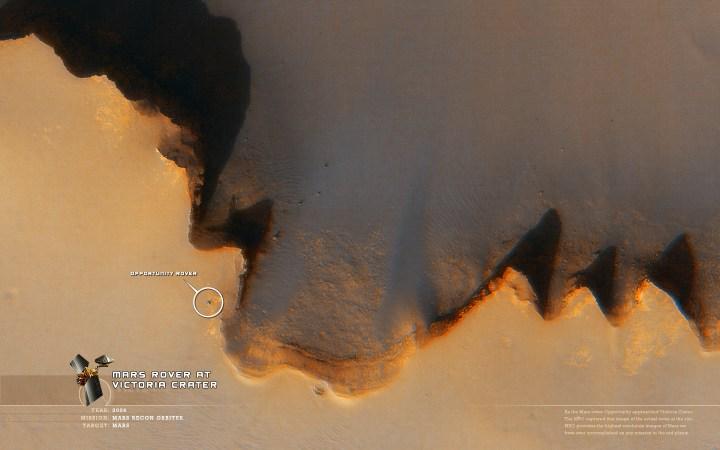 Em 2006 o satélite MRO (Mars Reconaissance Orbiter) acompanhou a pesquisa da Opportunity na cratera Victória
