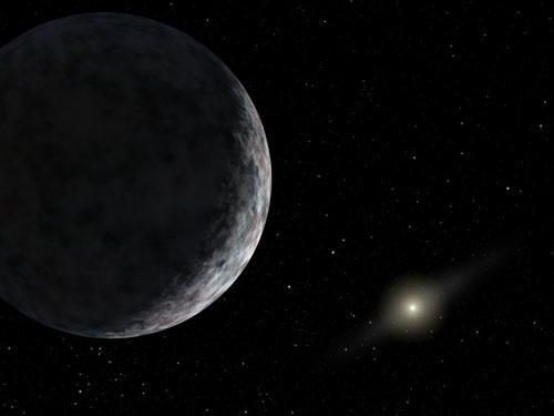 Essa pintura mostra o planeta-anão Éris, também conhecido como 2003UB313 que habita os confins do nosso sistema Solar. O Sol pode ser visto bem distante. Éris é maior e  mais massivo que Plutão e orbita a uma distância 3 vezes mais distante do Sol. A descoberta de Éris provocou a revisão da categorização dos objetos do sistema Solar que culminou no rebaixamento de Plutão (Imagem: R Hurt (SSC/Caltech) / JPL-Caltech / NASA).