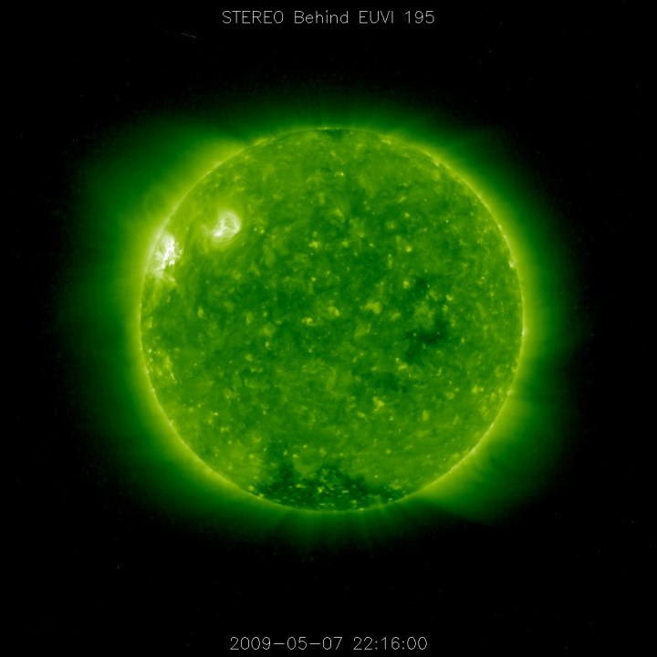 STEREO (Behind) spacecraft observed a coronal mass ejection (CME) that erupted on the sun on May 5. Shocks accelerated by the CME produced a large Type II radio burst. The source of the CME is an active region (seen as a bright area in the green EUV 195 still) just rotating into view from STEREO Behind, and it is being followed by another.Credit: NASA/SOHO