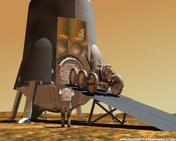 A tripulação desembarca o veículo de transporte em Marte. Crédito: John Frassanto e associados