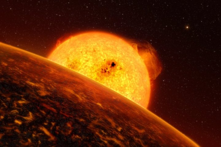 O lado diurno aquecido de CoRoT 7b apresenta temperaturas acima de 1.000o Celsius