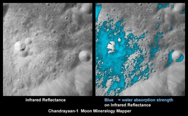 área próxima a uma cratera no lado oculto da Lua mostra (em azul, cor-falsa) uma abundância relativamente alta de materiais que contem água. Crédito: ISRO/NASA/JPL-Caltech/USGS/Brown U.