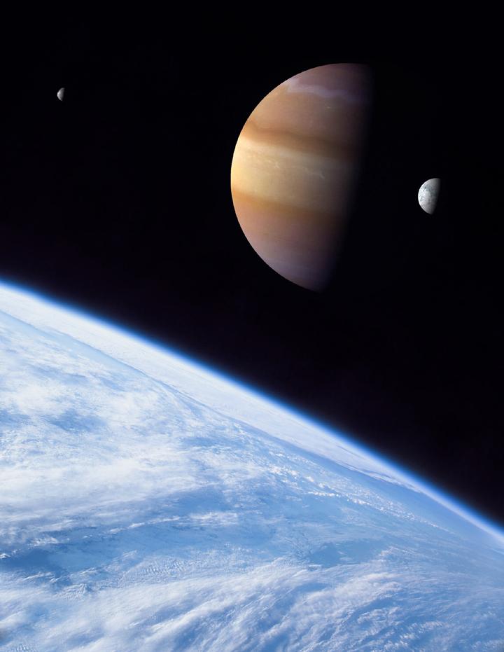 Uma exolua gigante similar a Terra orbitando um massivo exoplaneta tipo Júpiter. Crédito: Dan Durda