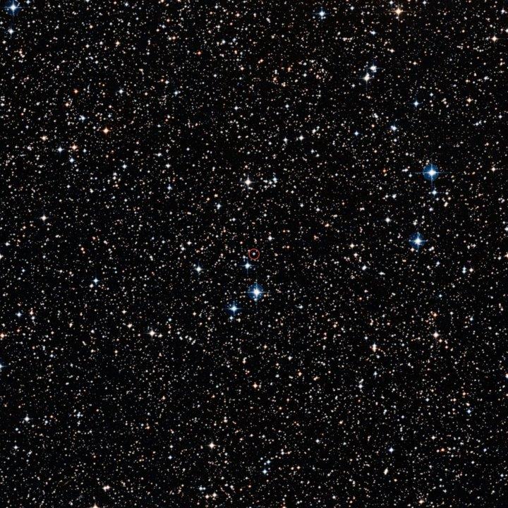 Esta imagem de campo largo, baseada nos dados da pesquisa Digitized Sky Survey 2, mostra a região completa em volta da nova recorrente V445 Puppis, com seu sistema binário ressaltado.