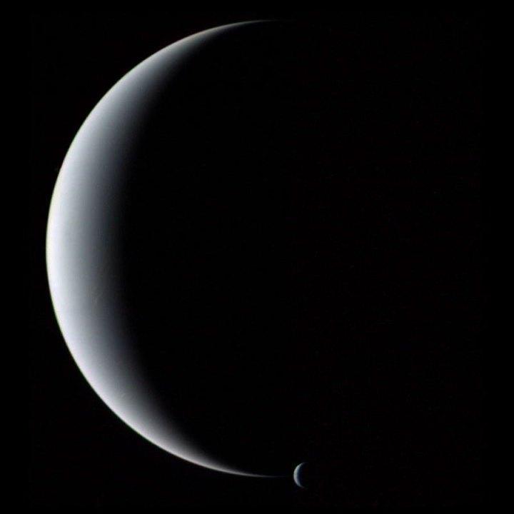 Netuno e Tritao fotografados pela Voyager 2
