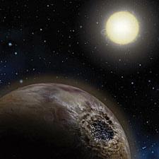 Os planetas similares a Terra ao redor de outras estrelas podem estar compostos não de rochas mas sim de carbono, com uma crosta de grafite, um interior de diamante e oceanos de alcatrão. Crédito: Lynette Cook