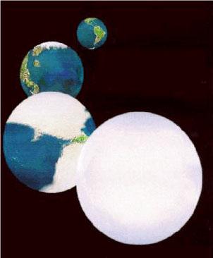"""""""Terra-Bola-de-Neve"""" - na ilustração vemos, da frente para o fundo, a """"Terra-Bola-de-Neve"""", a Terra em uma violenta era glacial, a Terra como é hoje e ao fundo, a Terra sem as calotas polares."""