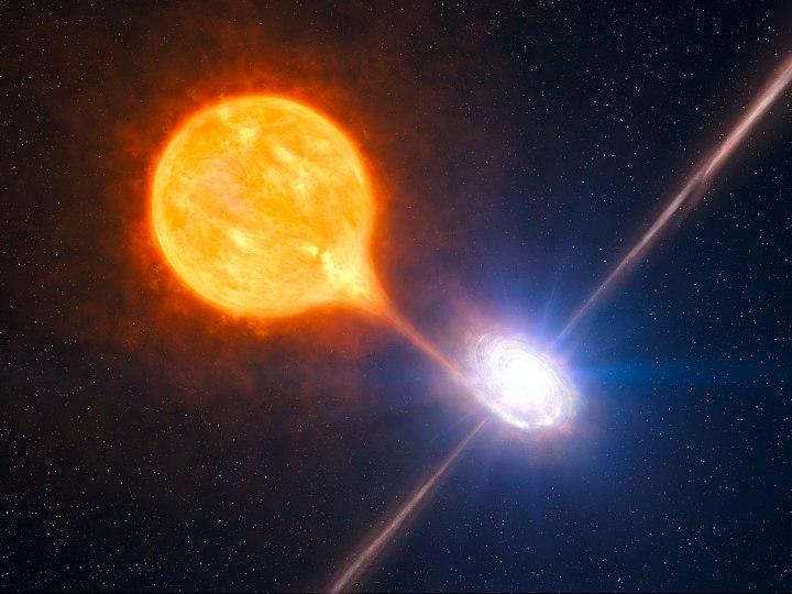 Micro-quasar: buraco negro estelar que pertence a um sistema binário ilustrado nesta concepção artística. Repare nos jatos colimados ejetados a partir dos pólos do Buraco Negro em rotação. Créditos: ESO/L. Calçada/M.Kornmesser