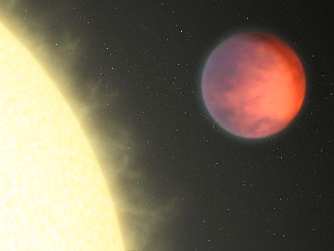 Impressão artística mostra a área mais aquecida do exoplaneta Upsilon Andromedae b, que não reside na área sempre voltada para sua estrela, como era de se esperar em sistemas gravitacionalmente amarrados. Inexplicavelmente a mancha quente se situa 80 graus de longitude afastada da região mais próxima da estrela. Os astrônomos estão 'coçando suas cabeças' para resolver este enigma. Crédito: NASA/JPL