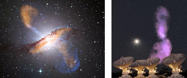 À esquerda: Uma imagem composta da radiação em raio X/rádio/luz visível da região ativa de Centaurus A (o centro da Via Láctea), que também não é tecnicamente um blazar porque seus jatos não se alinham com a Terra. Créditos: raios-X: NASA / CXC / CFA / R.Kraft et al:.; Submilimétrica / ESO / APEX / A.Weiss al. MPIfR al; Óptica: ESO / WFI. Á Direita: Uma imagem composta que mostra o brilho nas freqüências das ondas rádio em Centaurus A comparado com o tamanho da Lua cheia. As antenas em primeiro plano são do Austrália Telescope Compact Array do CSIRO, que reuniram os dados para esta imagem.