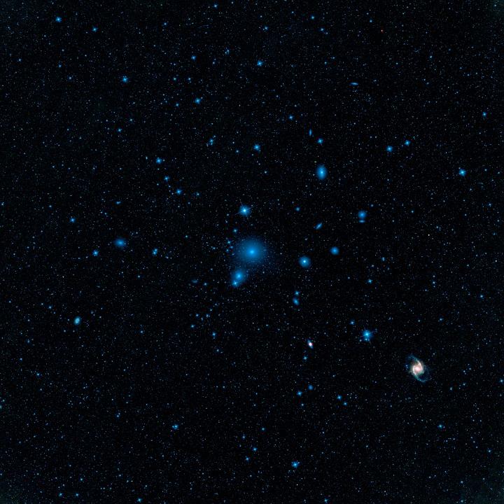 Imagem do aglomerado em Fornax (A Fornalha), que reside a 60 milhões de anos-luz da Terra, um dos aglomerados estelares mais próximos da Via Láctea. Clique na imagem para ver a versão em alta resolução. Crédito: NASA/JPL-Caltech/UCLA