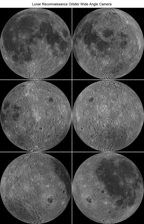 Bilhões de anos de erosão e movimentos tectônicos eliminaram as grandes crateras antigas... Na Lua, em contrapartida, podemos ver as marcas os bombardeamentos, nestas imagens de vários ângulos capturadas pela sonda robótica LROC. Ao girar nota-se a radical diferença entre as faces visível e oculta da Lua. Crédito: NASA