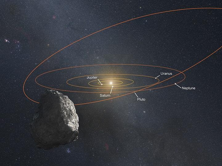 Impressão artística de um Objeto do Cinturão de Kuiper (KBO), localizado no anel externo do Sistema Solar, na faixa de 6 bilhões de km de distância do Sol (40 Unidades Astronômicas). O Sol aparece como uma estrela brilhante no centro deste diagrama. A Terra e demais planetas do Sistema Solar interior estão perto demais da nossa estrela para serem vistos nesta ilustração. O objeto brilhante à esquerda do Sol não é uma estrela, trata-se do planeta Júpiter e o outro objeto brilhante sob o Sol é Saturno. Os dois pontos brilhantes de luz à direita do Sol, a meio caminho até o fim da imagem são Urano e Netuno, respectivamente. As posições dos planetas estão plotadas como estarão em 2018, quando a New Horizons estiver a mais de 6 bilhões de km (40 UA) do Sol. A Via Láctea aparece no plano de fundo. Créditos: NASA, ESA e G. Bacon (STScI).