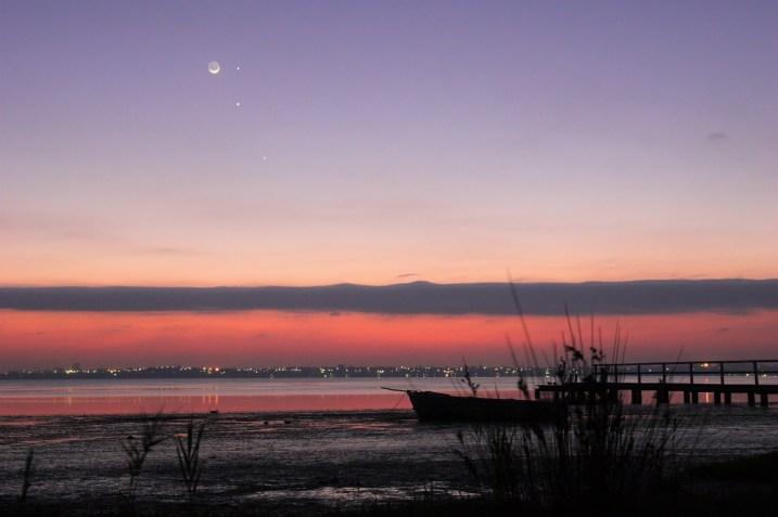 Lua, Mercúrio, Júpiter e Marte em comjunção na madrugada, por Mike Salway