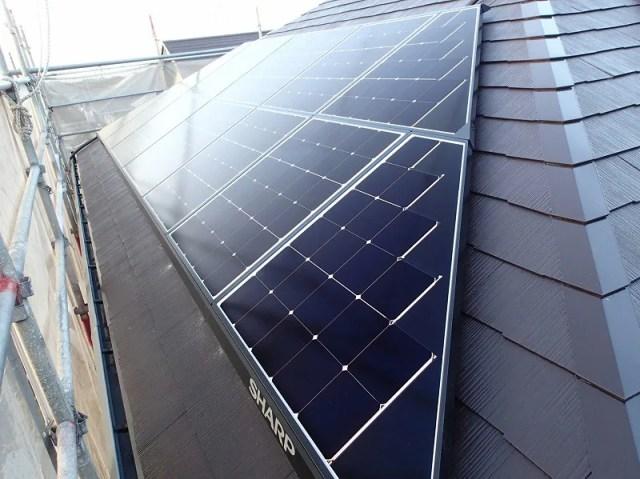 シャープ太陽光発電設置完了後