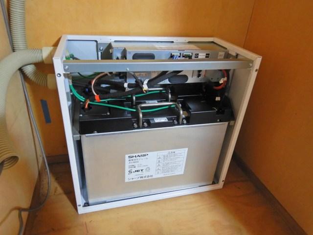 蓄電池にリチウム電池を組み込んだ状態