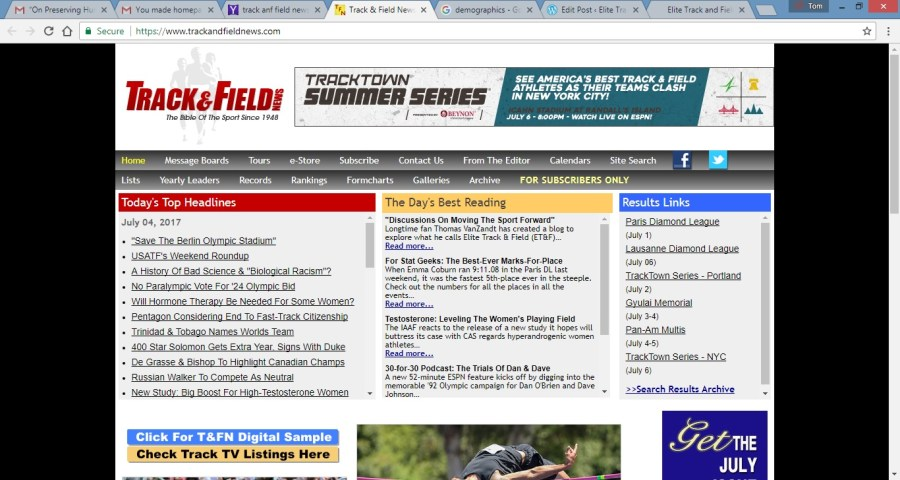 Track and Field News Mention