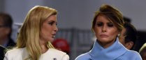 (FILES) This file photo taken on January 20, 2017 shows US First Lady Melania Trump speaking with Ivanka Trump during the presidential inaugural parade for US President Donald Trump in Washington, DC. Two weeks after her husband's inauguration, questions are mounting about what kind of first lady Melania Trump will be. The 46-year-old former model wowed the crowds at his swearing-in ceremony and inaugural balls dressed in Ralph Lauren powder blue and a vanilla crepe, ticking fashion boxes and suggesting that the mother of one was anxious to step up to her new role.Since then, however, she has not been seen at official events, is not living in the White House and is still putting together her staff. / AFP PHOTO / Nicholas Kamm