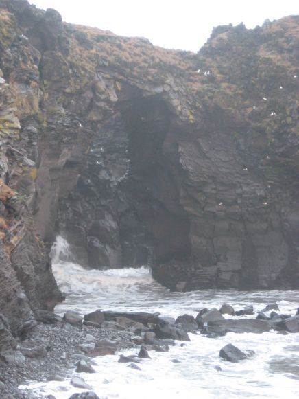 Baðstofa Cave at the trailhead in Hellnar.