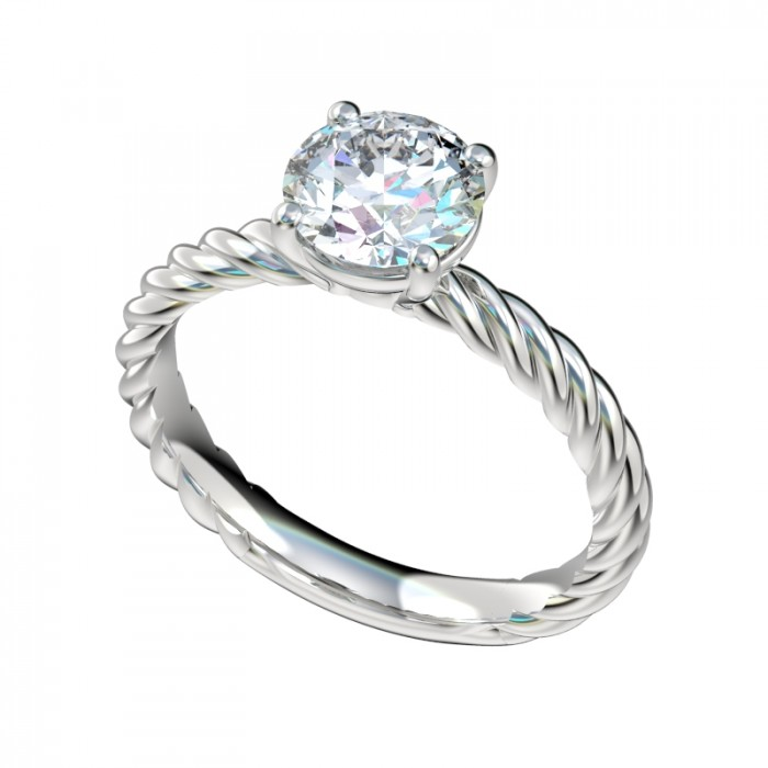 Rope Shank Petite Solitaire Engagement Ring