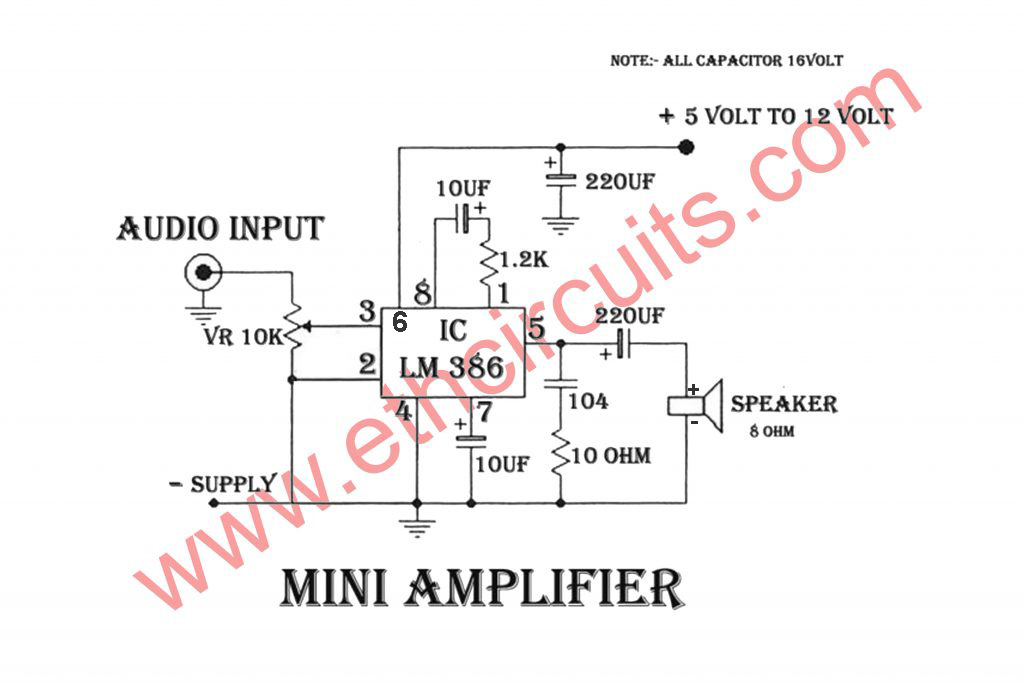 Audio Amplifier Circuit With LM386 Very Easy Circuit Diagram