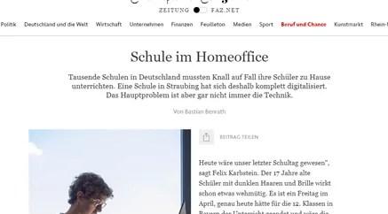 Screenshot der Frankfurter Allgemeine zum Thema Homeoffice