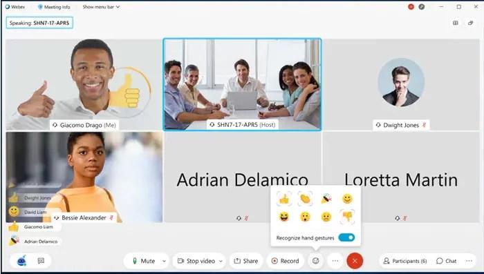 Vorschau der Gestenerkennung von Cisco Webex