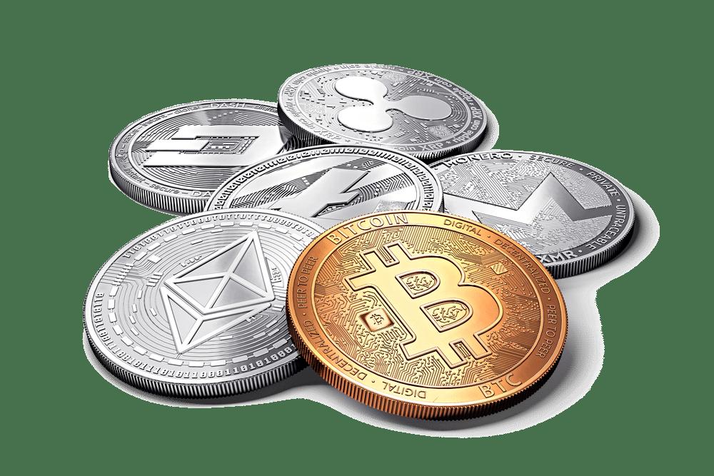 Forskjellige typer kryptovaluta mynter