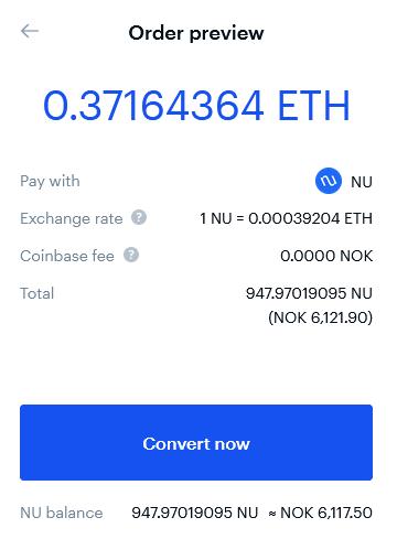 Konvertering av kryptovaluta på Coinbase