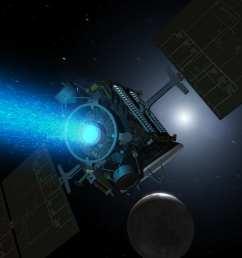 artist s conception of nasa s dawn spacecraft firing its nstar xenon ion thruster [ 2560 x 1440 Pixel ]