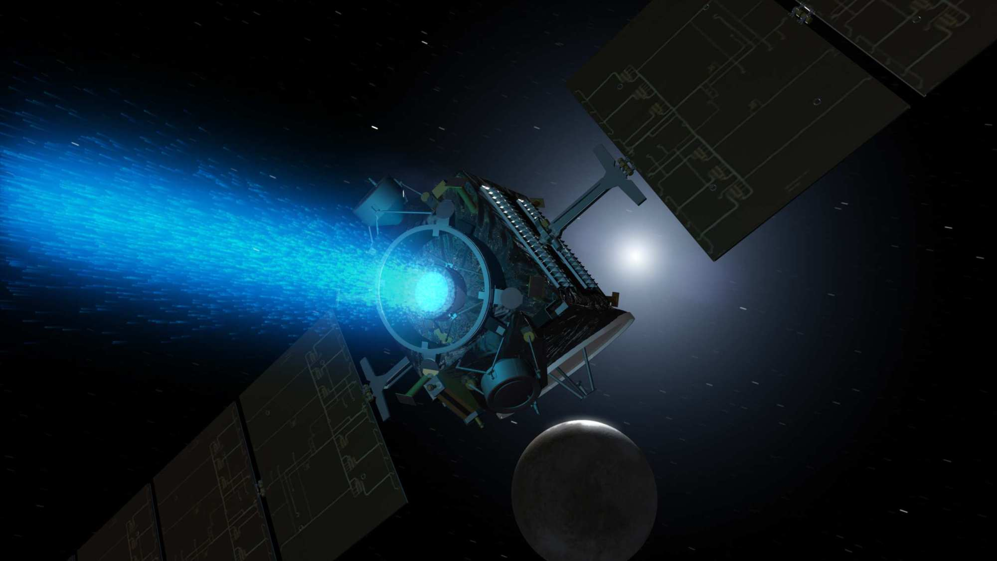 hight resolution of artist s conception of nasa s dawn spacecraft firing its nstar xenon ion thruster