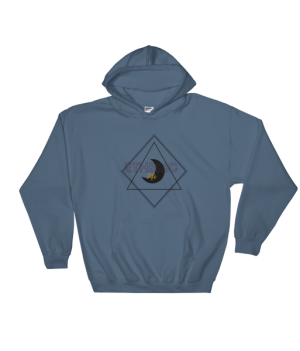 etheric life black quarter moon hooded sweatshirt indigo blue