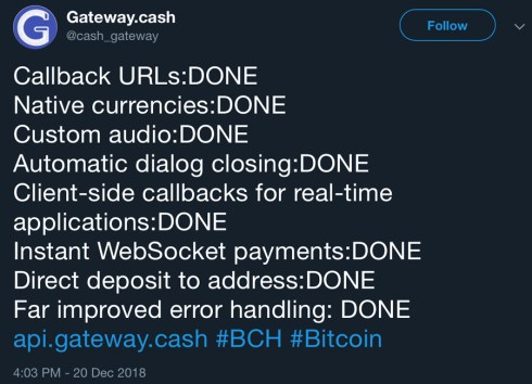 Bitcoin Cash Payment API Gateway.cash Adds a Variety of New Features